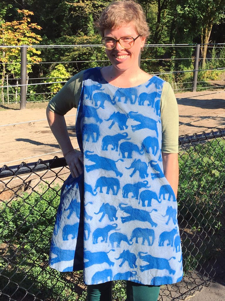 simple dress with elephant stencils